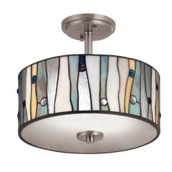 Flush Mount Kitchen Ceiling Lights Portfolio 13 In Aztec Brushed Nickel Clear Glass Semi Flush Mount Light Lowe S Canada