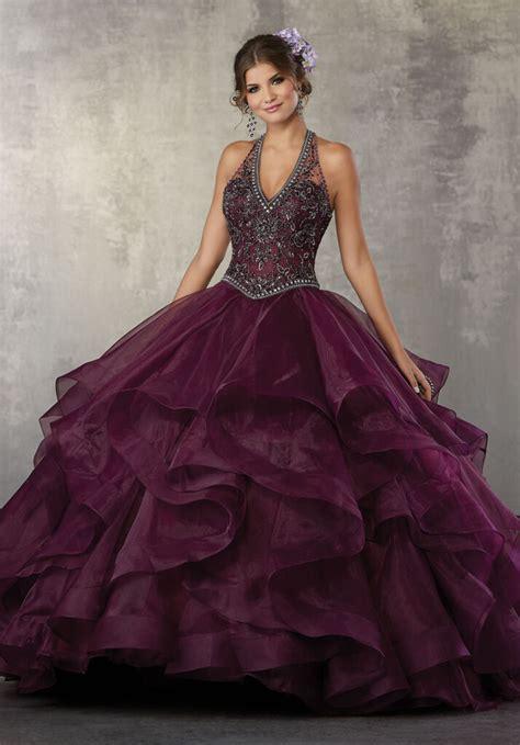 crystal beading   flounced organza ballgown style