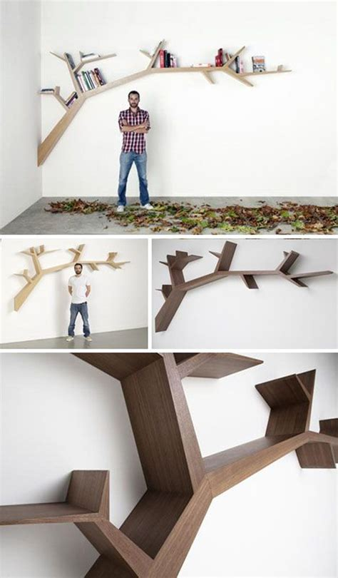 cool hanging branches tree bookshelf
