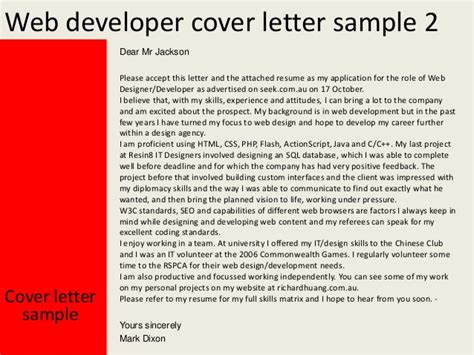 Cover Letter Web Developer by Web Developer Cover Letter