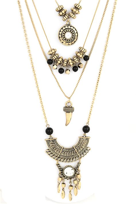 layered beaded necklace layered textured metal beaded necklace set necklaces