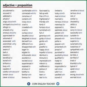 adjective preposition finally a list of the pesky words