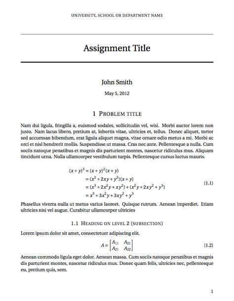 latex templates 187 short sectioned assignment