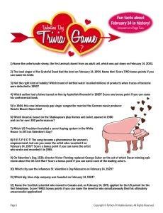 valentines trivia questions printable valentines