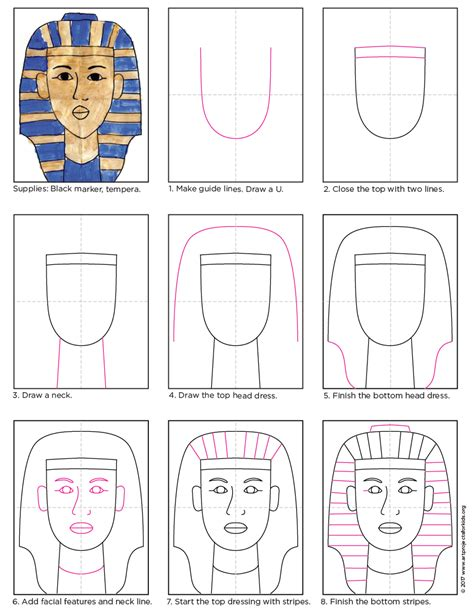Halloween Crafts Easy - how to draw king tut art projects for kids
