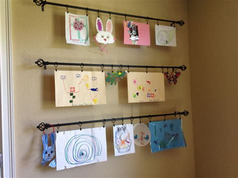 hanging kids artwork kids art wall used curtain rods with clip rings so can