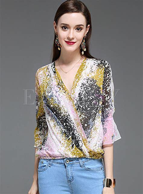 Floral Print Sleeve Blouse floral print silk flare sleeve blouse ezpopsy