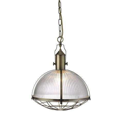Industrial 1 Light Pendant Antique Brass With Ribbed Glass Antique Glass Pendant Lights
