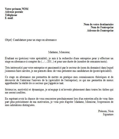 Exemple De Lettre De Motivation Pour Un Stage à L Hopital Lettre De Motivation Pour Un Stage En Alternance Mod 232 Le
