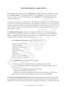 nda non disclosure agreement template non disclosure agreement template free sle nda template