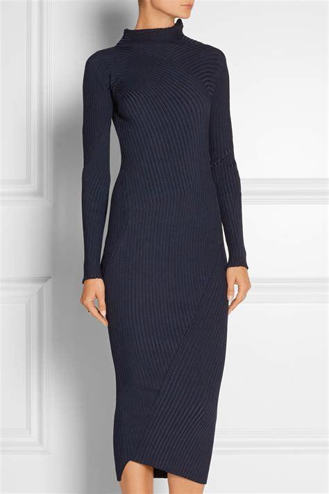 knit turtleneck dress acne ayla ribbed knit turtleneck midi dress in blue