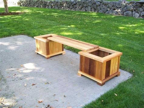 bench planter wood country planter bench set