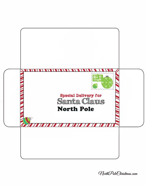 big printable envelope free printable envelope santa claus north pole search
