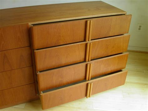 2 Pc Matching Danish Modern Teak Bedroom Dresser Set By | 2 pc matching danish modern teak bedroom dresser set by