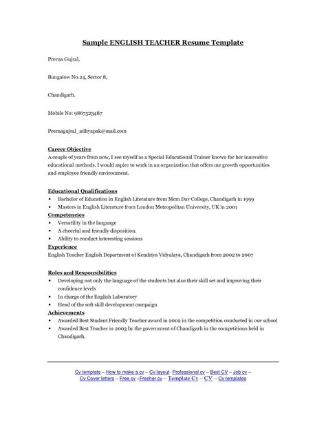 cover letter for a cv exles cosy resume for teachers exles with esl sle