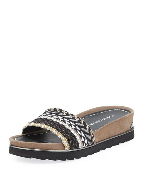 black sandal donald j pliner cava beaded slide sandal in black black