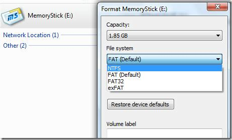 format memory card format usb flash drive or memory card with ntfs in windows
