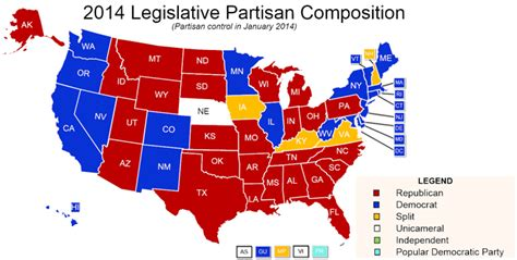 state legislature map state partisan composition