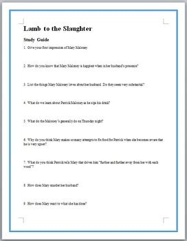 printable version of lamb to the slaughter lamb to the slaughter worksheets resultinfos