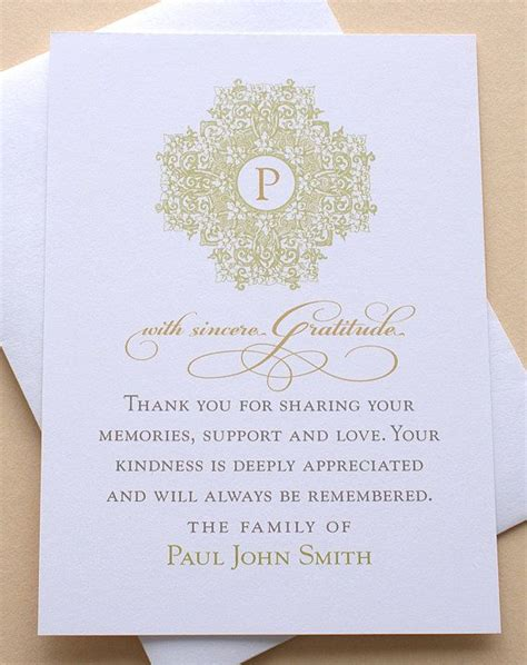 Thank You Card To Church After Funeral