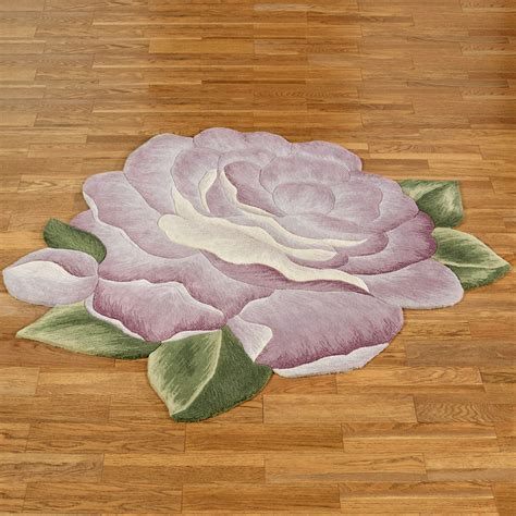 Vintage Bloom Lavender Rose Flower Shaped Rugs Flower Rug