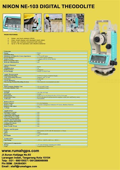 jual alat survey digital theodolite nikon ne 103 murah 081288098069 r