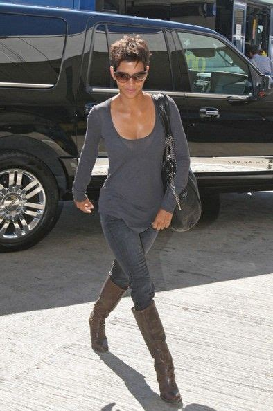 Halle Berry Gets On Knees For A by Halle Berry Knee High Boots Brown Knee High Boots Grey