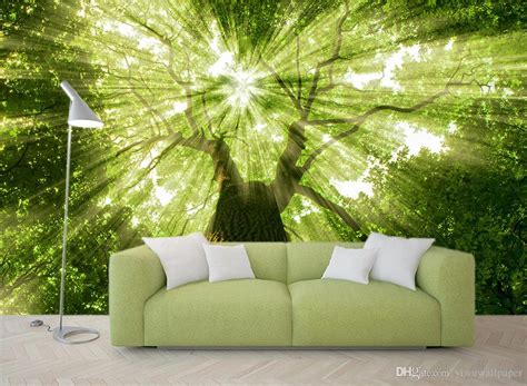 trees forest trees light green background walls mural