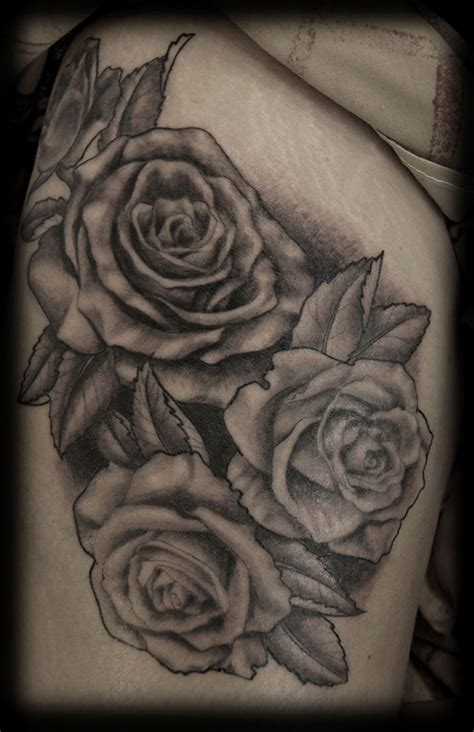 black and white tattoo roses magical thigh on tattoochief