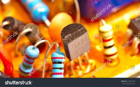 integrated inductors and resistors integrated circuit inductors chip capacitors stock photo 156356798