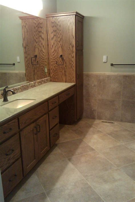 Walnut Bathroom Flooring by Marazzi Walnut 20x20 Tile Installed On 45