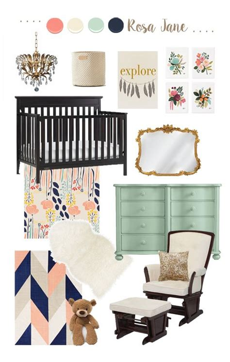 mint and coral home decor nursery design board mint coral navy and gold