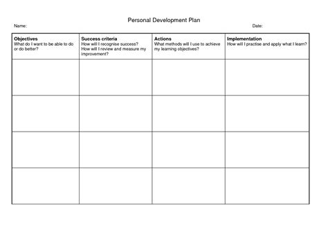 development template 6 free personal development plan templates excel pdf formats