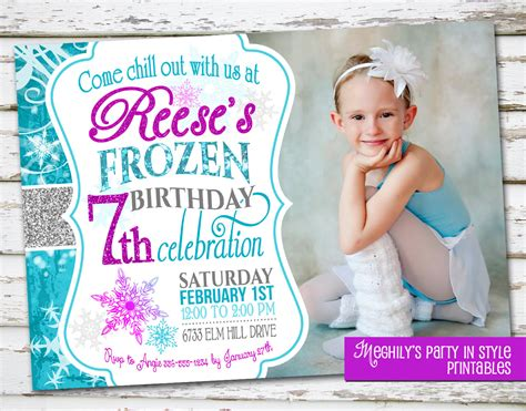 frozen birthday invitation with photo - Frozen Birthday Invitation With Photo