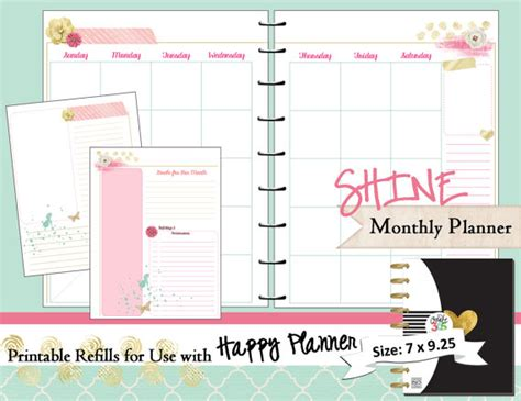 Happy Planner Printable Monthly Planner Refills Inserts Happy Planner Template