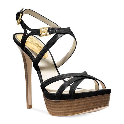 michael kors platform sandals michael kors michael cicely platform sandals in black lyst