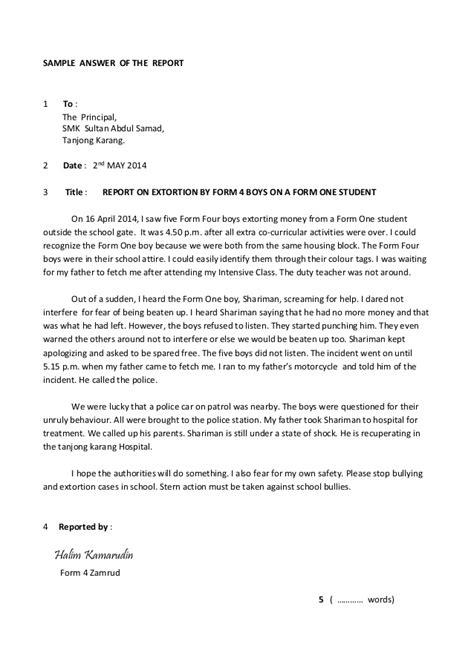 format essay report pt3 report format