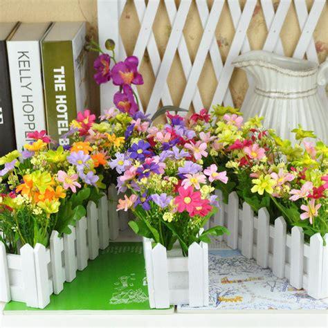 Set Flower Putih pengiriman gratis pedesaan bunga buatan dekorasi vanili pagar kayu putih set bunga