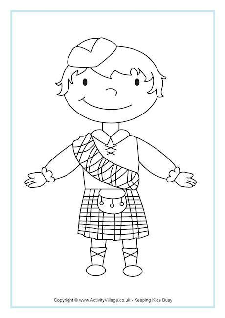 scottish boy colouring page kaden s project pinterest
