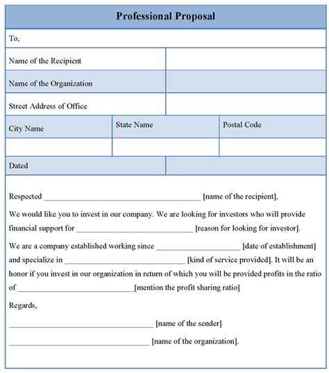 proposal template for professional format of professional