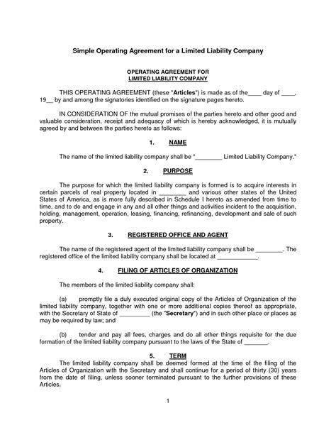 Simple Llc Operating Agreement Template Free Printable Documents Simple Operating Agreement For Llc Template