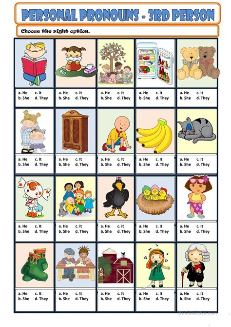 printable games for one person personal pronouns 3rd person worksheet free esl
