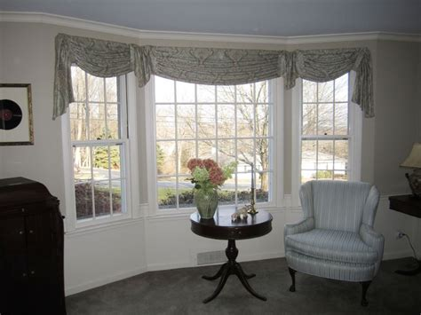 swag curtains for bay windows gathered tab swags jabots for bay window swags
