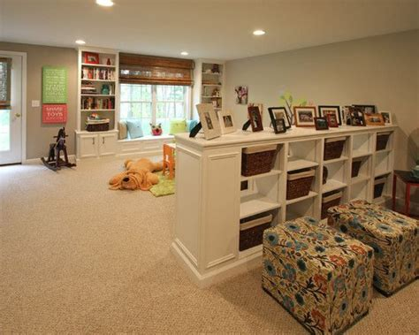 room separation ideas basement ideas i like the half wall storage idea could be useful for room separation