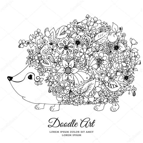 anti stress coloring book animals vector illustration zentangl hedgehog with flowers doodle