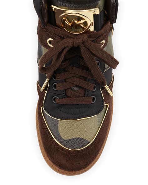Michael Kors Olive Perforated Black michael michael kors nikko hightop sneaker in brown lyst
