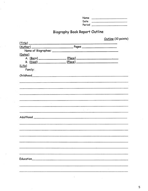 biography exle middle school biography book report outline book report pinterest