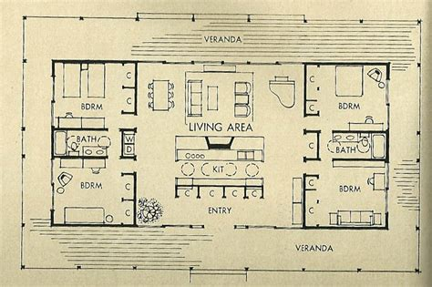 Mid Century Floor Plans | mid century modern architecture mid century modern house floor plan 1950s home plans