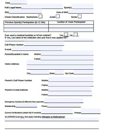 parent contact form template sle contact information form 12 exles in word pdf