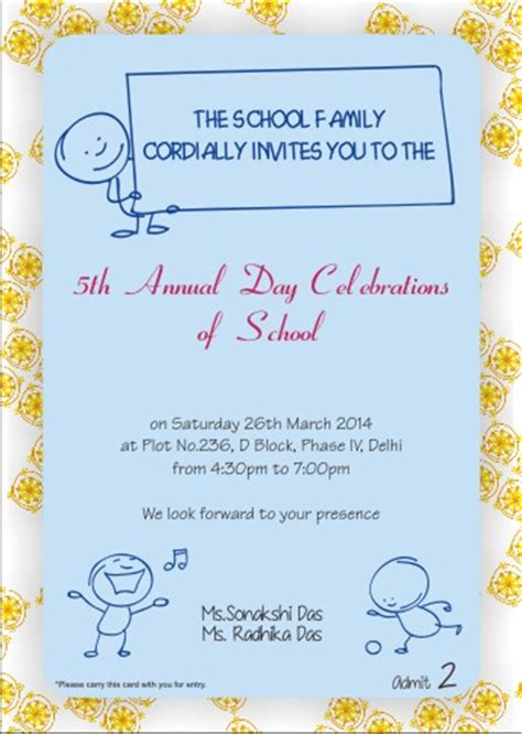 Invitation Letter Format School Function School Annual Day Function Invitation Card Printable Personalized